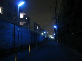 青色防犯灯(小杉町2丁目・大西学園南側)