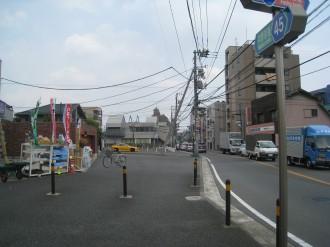 中原街道改良工事 取得済み用地(小杉十字路付近)
