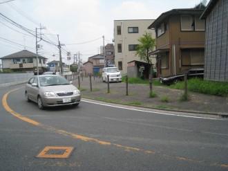 中原街道改良工事 取得済み用地(カギ道付近)
