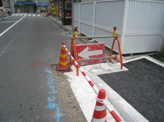 中原警察署新庁舎前の歩道(南側端)