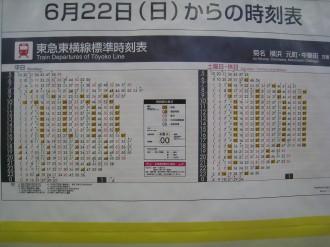 武蔵小杉駅新ダイヤ掲示板(東横線下り)