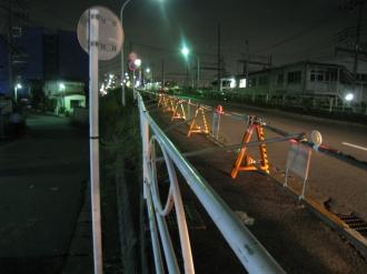 封鎖された綱島街道陸橋の歩道