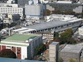 東急駅舎上部(写真奥がA地区・手前がC地区)